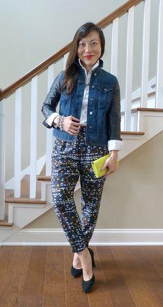 #anntaylor jacket #landsend shirt #jcrew pants #madewell heels #jcrewfactory clutch