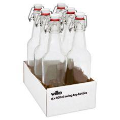 Wilko Swing Top Bottles 6 x Perfect for homemade gin recipes Glass Storage Jars, Jar Storage, Food Storage, Vodka Recipes, Kefir Recipes, Diy Gifts In A Jar, Homemade Beer, Hooch, Mugs