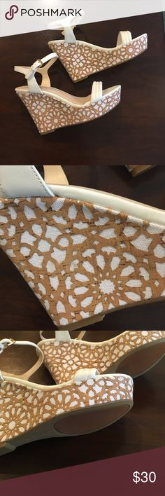 Nine West Wedges Nine West wedges with beautiful brown and white designs. Approximately 4.5 inches and in great condition. A couple of spots on the inside that were there when purchased, and are shown in pics. 💕 Nine West Shoes Wedges