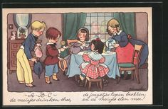 Künstler-AK Freddie Langeler: Kinder trinken Kaffee 0