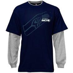 Seattle Seahawks Youth Faux-Layered Long Sleeve T-Shirt - Steel Blue.  #fanatics