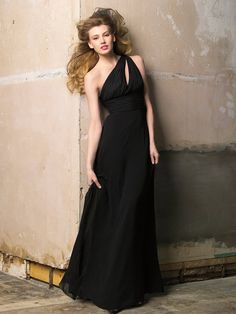 Black One Shoulder Long Bridesmaid Gown