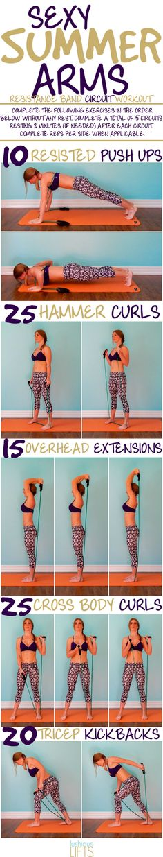 Sexy Summer Arms Resistance Band #Workout for the girl who loves to show off her arms!    lushiouslifts.com