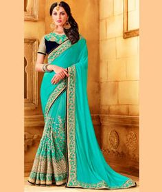 Buy Aqua Chinon Silk Party Wear Saree 73944 with blouse online at lowest price…