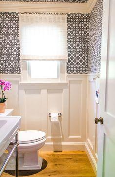 Powder Room. Powder Room Wallpaper. Powder Room Wallpaper Ideas. Powder Room Wallpaper and wall paneling. #PowderRoom #PowderRoomWallpaper Evars and Anderson Interior Design.