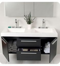Looking for modern double sink bathroom vanity sets to select from? Find a full photo gallery and get new ideas to beautify your bathroom with double sink. Floating Bathroom Vanities, Small Bathroom Vanities, Floating Vanity, Bathroom Sink Vanity, Modern Bathroom, Bathroom Cabinets, Bathroom Ideas, Small Bathrooms, Cupboards