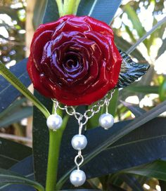 Old Hollywood Glamour Handcrafted Red Rose by VividVioletDesigns, $18.00