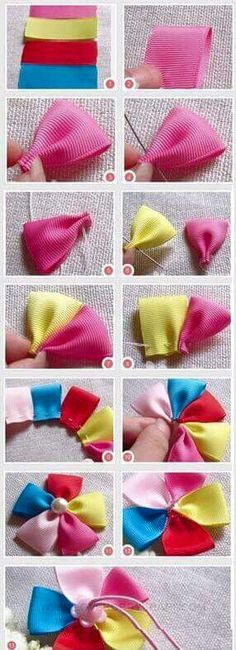 DIY Tutorial craft tutorials / How to make baby ribbon hair ties - Bead&Cord Ribbon Hair Ties, Hair Ribbons, Diy Ribbon, Ribbon Work, Ribbon Crafts, Ribbon Flower, Grosgrain Ribbon, Making Hair Bows, Diy Hair Bows