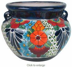Small Talavera Handled Flower Pot