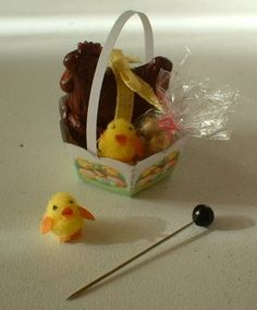 Miniature dollhouse, windows, etc. ... Easter bunnies and chicks to make from pompoms