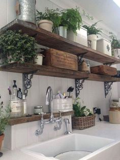 Laundry room shelving - two shelves one for detergent, etc, and the other for pretty stuff!