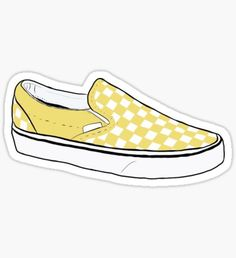 """Yellow Checkerboard Vans"" Stickers by Cute Laptop Stickers, Phone Stickers, Cool Stickers, Printable Stickers, Preppy Stickers, Unicornios Wallpaper, Wallpaper Stickers, Cool Vans Wallpapers, Mochila Kanken"