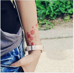 Tattoo temporary Long lasting tattoo  flower tattoo by TattooKorea, $3.95