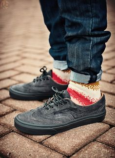 Vans Era Wingtip CA Sneaker - Charcoal. Dig the shoes and socks. The pin roll, however...