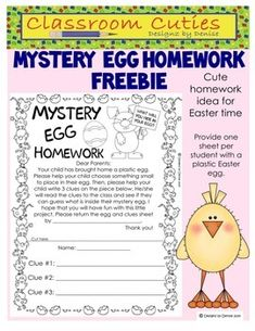 SO CUTE! This FREEBIE includes one homework sheet for the Mystery Egg assignment.   Students are given one copy of the homework sheet and one plastic Easter egg that opens.   As a homework assignment, students are to choose something small to put in their egg and write 3 clues about what that item is.