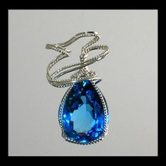 Blue Topaz Wire Sculpted Pendant Sterling Silver by IsisArtsLLC, $125.00
