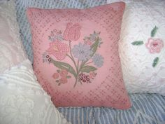 "Hand Embroidered and Vintage Chenille 16"" Pillow - 'Tulips' - Pink Pillow with White Daisy Vintage Chenille - Decorator Insert Included"