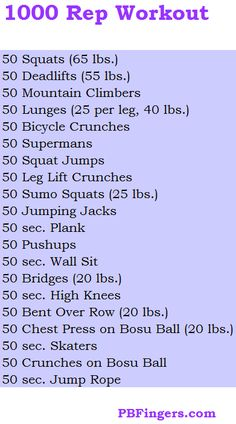 advanced 1000 rep workout.  For beginners, just use body weight.  For intermediate cut, weight by half of what's shown.