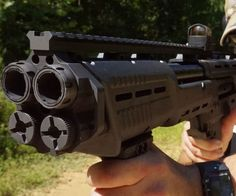 Expand your arsenal of ridiculously overpowered and unnecessary firearms by purchasing one of these double barrel pump shotguns. It's crafted from aircraft grade aluminum and features two 18 barrels that fire up to 16 12 gauge rounds. Airsoft Guns, Weapons Guns, Guns And Ammo, Revolver, Zombie Apocalypse Weapons, Firearms, Shotguns, Best Zombie, Lever Action