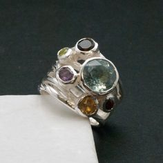 Big Multi Gemstone Statement Ring, Glamorous Wide Band 925 Silver Natural Gemstones, Blue Topaz High Fashion Ring, Fine Jewelry Gift for Her Green Peridot, Purple Amethyst, 925 Silver, Sterling Silver Rings, Fashion Ring, High Fashion, Blue Topaz Ring, Smokey Quartz, Red Garnet