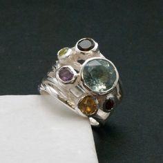 Big Multi Gemstone Statement Ring Glamorous Wide by SunSanJewelry