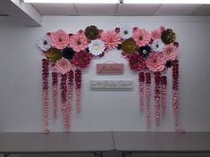 Image result for navy silver coral paper flowers backdrop