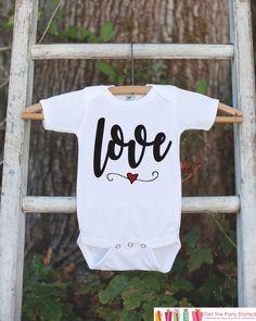 Girls Valentines Day Outfit - Valentine's Day Onepiece or T-shirt - Love Script Heart Valentine Shirt for Baby Girls - Kids Valentine Shirt