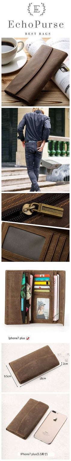 Handmade Crazy Horse Leather Men`s Long Wallet, Change Purse CN4028