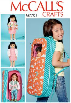 McCalls Childrens Easy Learn to Sew Sewing Pattern 7207 Backpacks McCalls-72...