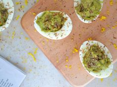 These deviled eggs get an extra dose of protein from avocado, fiber from ground flax seeds and crunch from the apples.