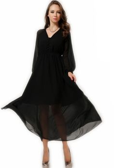 Fashion Style Slim V-neck Puff Sleeve Chiffon Bohemian Dress--Click the picture to visit our wesbite.>>Shop price:US$12.38. #shoes #wholesale #fashion #lovely #cheap #Korean #dress #sexy #clothes