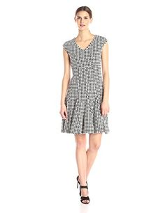 Taylor Dresses Womens Empire Multi Seamed Printed Dress BlackWhite 6 *** Learn more by visiting the image link.
