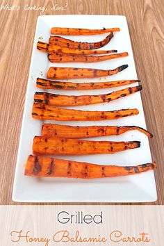 Grilled Honey Balsamic Carrots.  An easy and delicious side dish that combines grilled carrots with a honey balsamic glaze.  #carrots #sidedish #grill