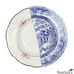 Juxtaposed Fillide Porcelain Soup Bowl