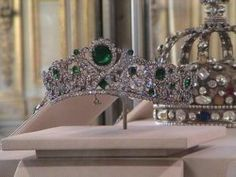 The emerald and diamond tiara of Marie-Therese-Charlotte, the Duchess of Angouleme, one of the few French crown jewels that wasn't stolen, sold or altered.