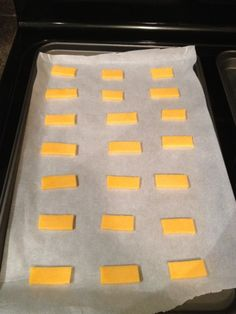 Baked Cheese Chips-All you need is Cheese of your choice & Parchment paper - oven 350° and Bake until bubbly and brown, about 10 minutes