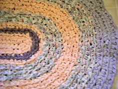 Crochet Peach and Lavender Area Rug for by Karenhugheskreations, $59.00