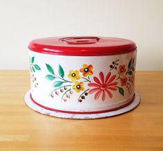 Vintage Floral Cake Carrier // Metal Cake Taker