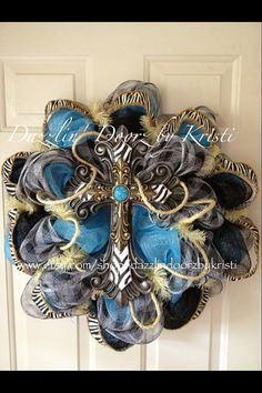 Turquoise and Black Cross Wreath by DazzlinDoorzbyKristi on Etsy, $75.00