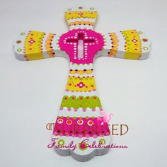 HANDPAINTED WOODEN CROSS Pink/Yellow decorative by GetSurprised