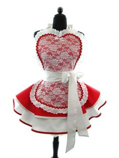 """DotsDiner Apron """"Spicy French Maid"""" - Sexy in Red & Lace DOTTIE Full Pin-Up Apron. $82.00, via Etsy."""
