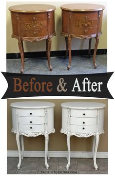 Ornate French Nightstands in distressed Antiqued White - Before & After from Facelift Furniture