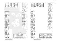 The joint venture of Amsterdam-based de Architekten Cie. (Frits van Dongen, Patrick Koschuch and Jason Lee) and Rotterdam practice SVESMI (Alexander Sverdlov), are multiple win. Architecture Drawings, Contemporary Architecture, Block Plan, Social Housing, Ground Floor Plan, Urban Design, Habitats, Competition, Floor Plans