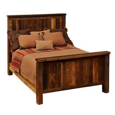 "The Barnwood Traditional Bed is one of our favorite new looks! This strong bed was Made In America and will be perfect for your mountain house or rustic home. 77""W x 96""L - All headboards are 60"" high"