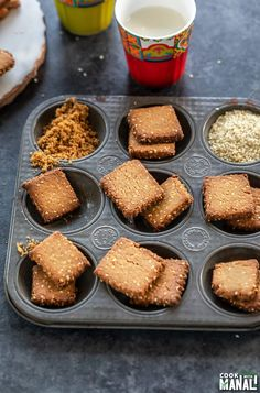 Baked Gur Para, a traditional Indian sweet snack made with flour and jaggery. It's traditionally deep fried but this baked version is just as flaky and crispy! Indian Desserts, Indian Sweets, Indian Food Recipes, Diwali Recipes, Diwali Snacks, Baking Recipes, Snack Recipes, Dessert Recipes, Savory Snacks