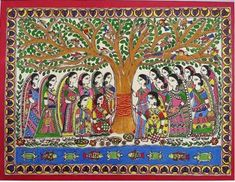 Buy Vat Savitri Puja painting online - the original artwork by artist Abha Jha, exclusively available at Mojarto only. Indian Art Paintings, Madhubani Painting, Online Painting, Murals, Original Artwork, Science, Artist, Quotes, Image