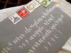 lovely white on gray envelope calligraphy