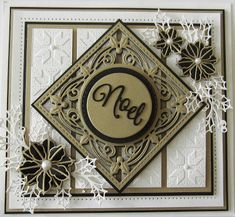 Hello there my crafty friends! Gold, black and white for today's offering. I started by embossing a piece of coconut white card with ...
