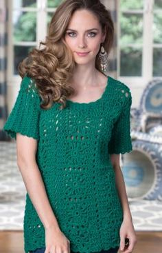 Tammy's Tunic - It's time to put a bit of sparkle in your look with this subtly   metallic yarn! This very wearable style is fun to crochet and you'll   wear it with everything from jeans to a dressy long skirt. RH Shimmer: 4 (4, 5, 5, 6) balls of Shamrock, Crochet Hook: H/8/5mm  Instructions are for size Small; chgs for sizes Med, L,1X + 2X in ( )  free pdf