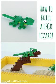 Here are some building instructions for making a cute little LEGO Lizard! My 9 year old son designed this LEGO lizard and I thought he did a great job! Heres how to build it: Step Start with a 1 x 2 1 x 2 inverted bracket (green) a 2 x 4 lime green. Lego Duplo, Lego Ninjago, Lego Club, Lego Design, Legos, Deco Lego, Instructions Lego, Lego Hacks, Lego Challenge